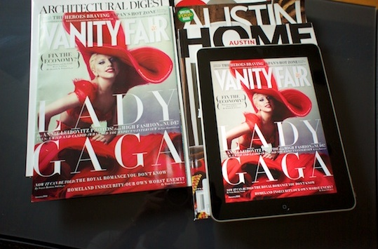 Vanity Fair cover with Lady Gaga in both paper and tablet forms. Analogue vs Digital.